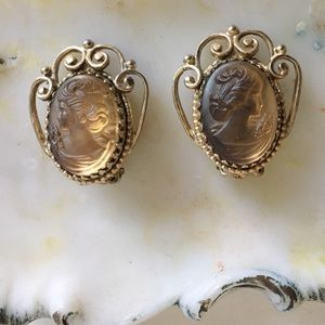 Whiting & Davis Vintage Signed Cameo Clip Earrings